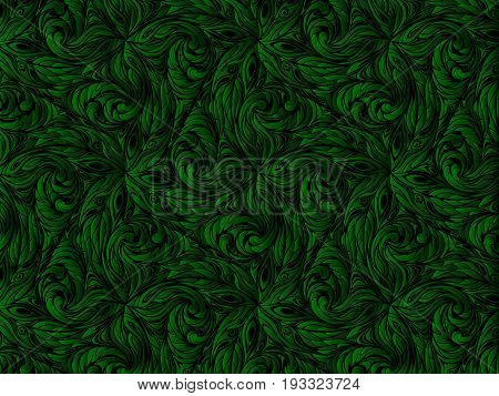 Green abstract pattern. Floral green background. Dark background.