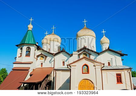 Architecture landscape - ancient church of St Philip the Apostle and St Nicholas in Veliky Novgorod Russia, architecture view of facade in sunny day. Veliky Novgorod Russia landmark