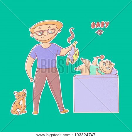 Textured vector funny illustration sticker. Inexperienced dad with glasses and a beard took a stinky diaper from baby and tomcat looks. Little infant on the changing table playing with a toy rattle