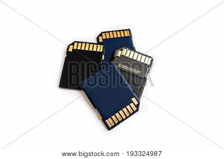Working SD card on a white isolated background. Computer devices for camera and camcorders for recording, transfer and storage of information.