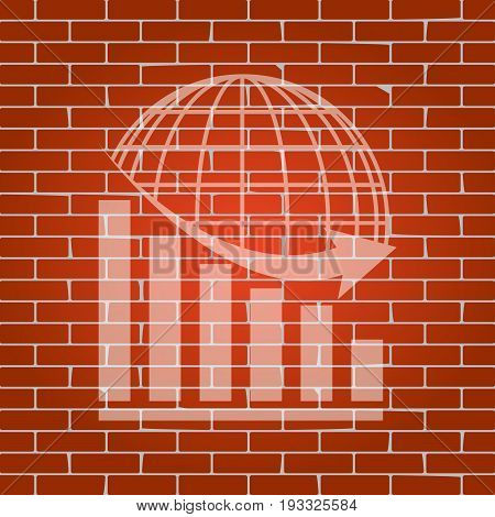 Declining graph with earth. Vector. Whitish icon on brick wall as background.