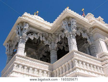 Marble balconies of Shri Swaminarayan Mandir in Toronto Ontario Canada