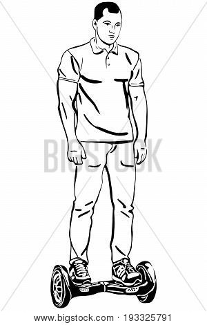Black and white vector sketch of a young man riding a gyroscope