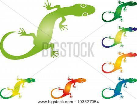 Lizard or gecko drawn, animal and amphibian logo