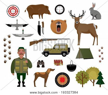 Hunter, hunting, game, wild animals, hunting accessories. Set of isolated elements for design. Vector illustration of EPS 10