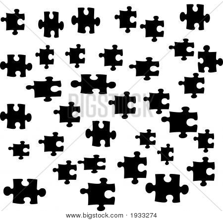 Puzzle Pieces On White