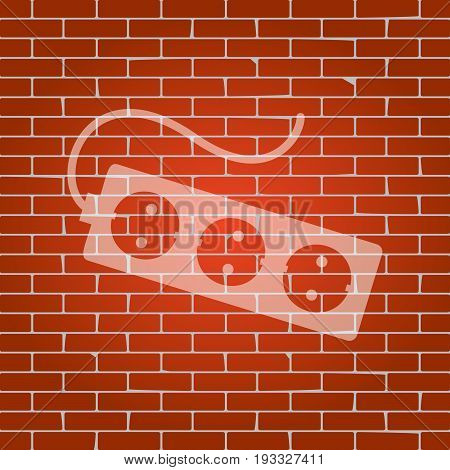 Electric extension plug sign. Vector. Whitish icon on brick wall as background.