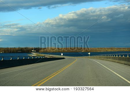 Rouses Point Bridge at the north end of Lake Champlain on the border of USA and Canada in Rouses Point, Upstate New York, USA.