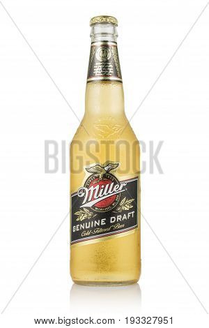 MINSK, BELARUS - JUNE 29, 2017: Editorial photo of Miller Genuine Draft Beer isolated on white. Miller is the original cold filtered packaged draft beer.