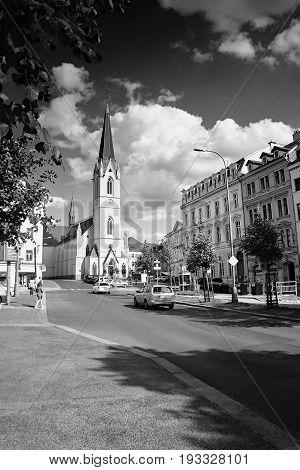 Liberec, Czech Republic - Juny 10, 2017: Sokolovske Namesti Square With Kostel Sv. Antonina Velikeho