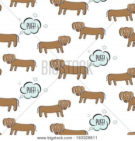 Funny vector dachshund illustration. Dog fart with surprised face. Cartoon puppy making gas, bad smell humor print. Ugly small domestic pet figure,