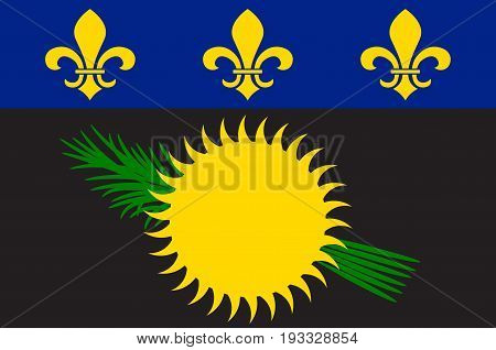 Flag of Guadeloupe is an insular region of France located in the Leeward Islands part of the Lesser Antilles in the Caribbean. Vector illustration