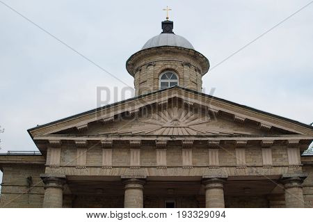 Gatchina, Leningrad region, Russia - June 03, 2017. The Finnish Evangelical-Lutheran Church of St. Nicholas. The Facade Dome