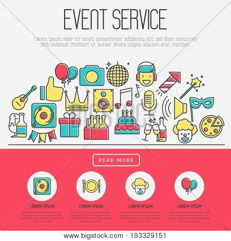 Event agency concept, organization of birthday party, catering service banner with thin line icons of clown, birthday cake, balloon decoration, DJ, food and beverages. Vector illustration.