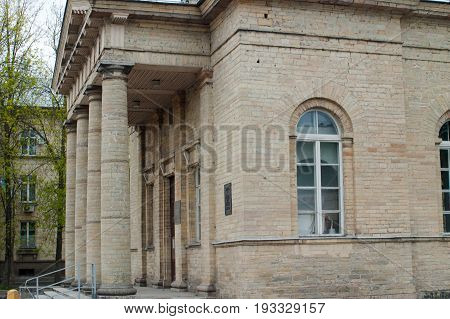 Gatchina, Leningrad region, Russia - June 03, 2017. The Finnish Evangelical-Lutheran Church of St. Nicholas. Detail of the facade.
