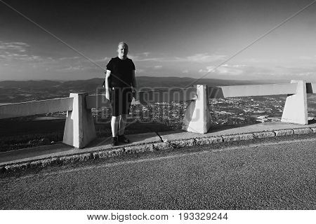 Jested, Czech Republic - Juny 10, 2017: Tourist And Photographer Jiri Igaz On Top Of Hill Jested At