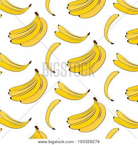 Vector banana pattern. Yellow summer plant colorful background. Banana tropical natural fruit print. Food vegan cover,