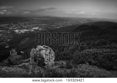 Big Stone On Top Named Jested Above Liberec City At Summer Evening