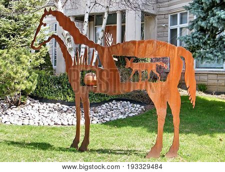 Thornhill, Canada - April 12, 2010: Horse sculpture.