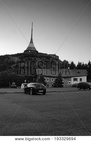 Jested, Czech Republic - Juny 10, 2017: Black Car Opel Astra H Under Transceiver Named Jested Near L