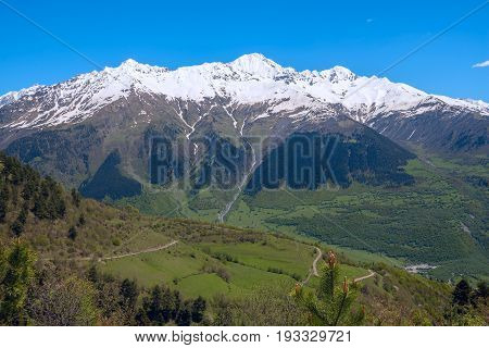 Magic Mountain Landscape - Mountain Range Covered With Snow