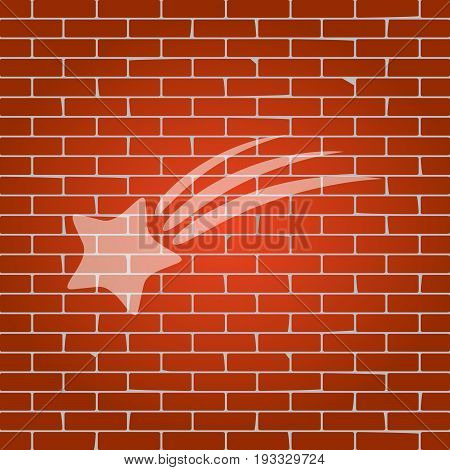Meteor shower sign. Vector. Whitish icon on brick wall as background.
