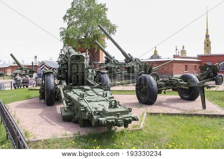 St. Petersburg Russia - 28 May, Exposition of artillery pieces, 28 May, 2017. Military History Museum of combat equipment in St. Petersburg.