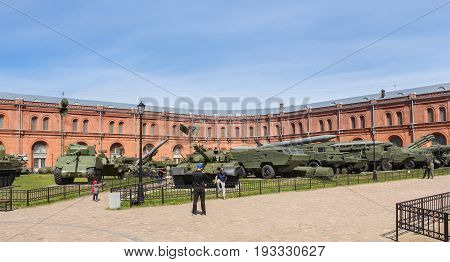 St. Petersburg Russia - 28 May, Military equipment on the territory of the military historical museum, 28 May, 2017. Military History Museum of combat equipment in St. Petersburg.