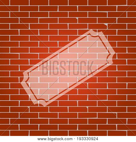 Ticket sign illustration. Vector. Whitish icon on brick wall as background.