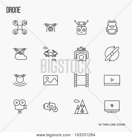 Quadcopter, flying drone, remote control, front and side view, camera thin line icons set. Vector illustration.
