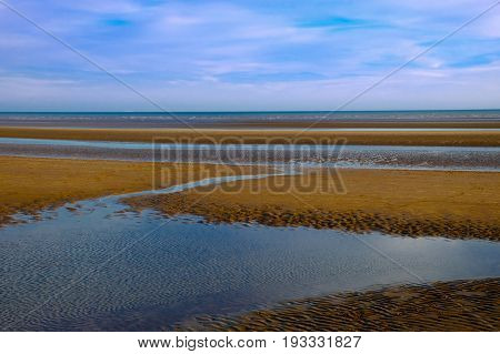 Camber Sands beach at low tide, East Sussex, England