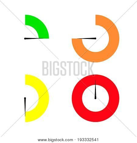 Set of colored timers   stopwatch timer  flat
