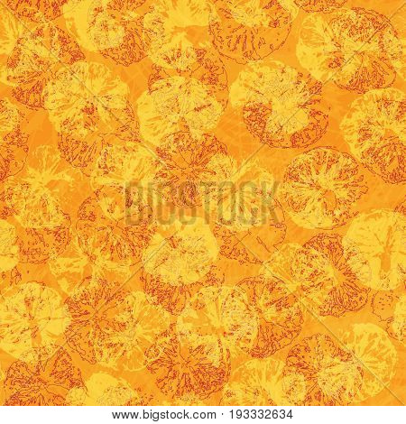 Orange stamp seamless background. Orange juice pattern with stamp of orange silhouettes. Yellow and orange bright vector pattern