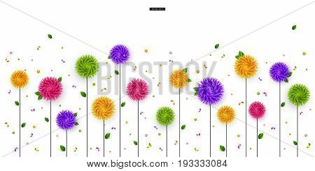 Summer, Spring. 3D stylized multicolored flowers with leaves on a white background. Abstract floral origami pattern. Paper style. Element for festive design. Vector illustration