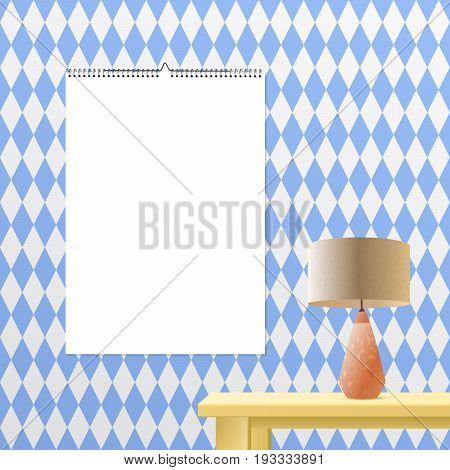 Calendar binder mockup vertical on transparent background. Spiral bound vector calendar template for your advertising design. Bavarian blue geometric interior design