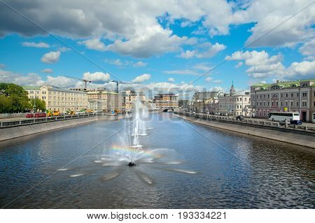Fountains on Vodootvodny Canal in Moscow Russia