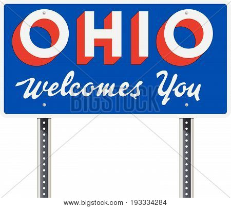 Vector illustration of the welcome state of Ohio road sign
