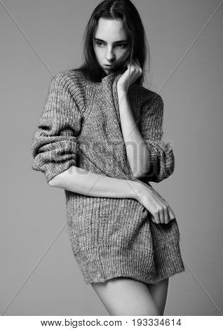 Model Portrait With Young Beautiful Fashion Model