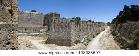 historic, ancient wall of Rhodes town on greek island Rhodes