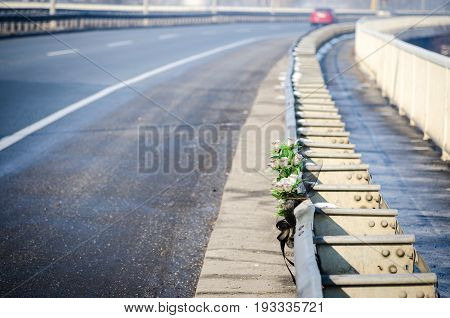 Car crash accident. Artificial white roses flowers on the site of a traffic accident with a fatal outcome.