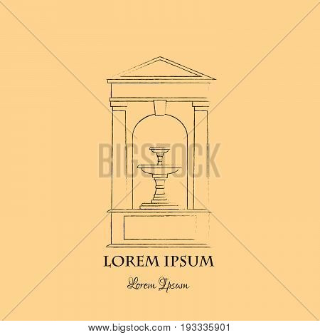 Line vector illustration of classical fountain isolated on white background with place for your text. Vector template for business card and banner.