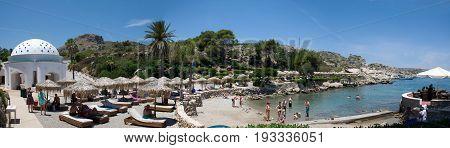 Rhodes, Greece - June 2017: Panoramic view of Kallithea Bay on grek island Rhodes, in June 2017