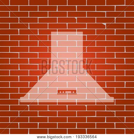 Exhaust hood. Kitchen ventilation sign. Vector. Whitish icon on brick wall as background.