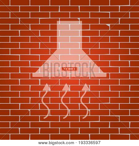 Exhaust hood. Range hood. Kitchen ventilation sign. Vector. Whitish icon on brick wall as background.