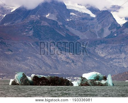 A dirty green iceburg floats in Kenai Fjords