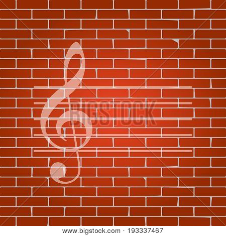 Music violin clef sign. G-clef. Vector. Whitish icon on brick wall as background.