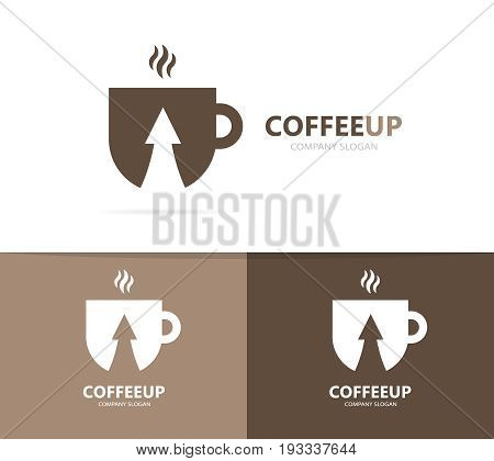 coffee and arrow up logo combination. Drink and growth symbol or icon. Unique cup and tea logotype design template.