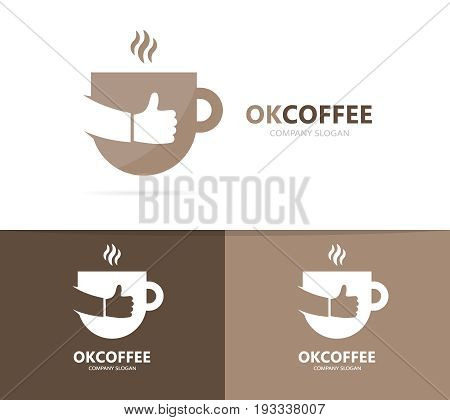 coffee and like logo combination. Drink and best symbol or icon. Unique cup and tea logotype design template.