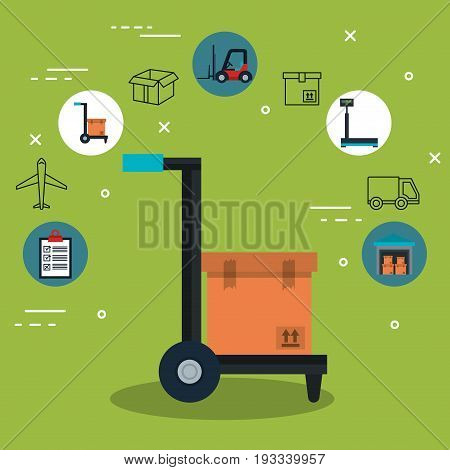 Load carrier platform trolley with box and delivery related icons over green background vector illustration