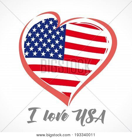 Love USA, America emblem colored. Happy Independence Day, July 4th - Fourth of July, American Flag in vector heart